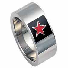 Stainless steel ring with a star - 3 colors to choose from