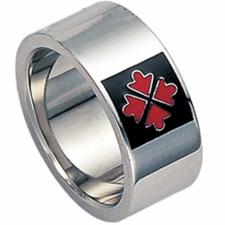 Stainless steel with Black Enamel and Red Arrows  ring