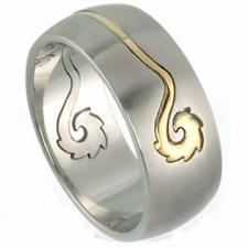 Cool 2 Parts Stainless Steel Ring With Gold PVD Tribal Design