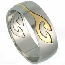 2 Part Stainless steel ring with gold PVD coating