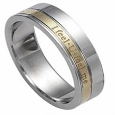 Stainless Steel Ring With Gold PVD and