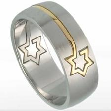 Cute Stainless Steel Ring With Gold PVD Star