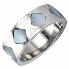 Stainless Steel Ring with Shell - Unisex