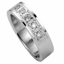Jewel Encrusted Stainless Steel Ring