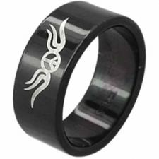 Stainless Steel ring with PVD black coating and etched tribal design