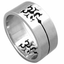 Stainless Steel Ring With Cut Out Tribal Design