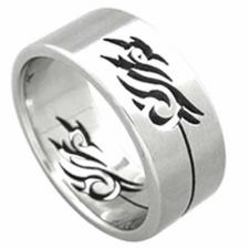 Very Nice Stainless Steel Ring with Cut Out Tribal Design