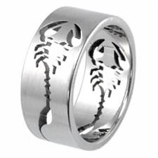 Awesome Stainless Steel Ring With Cut Out Scorpion Design