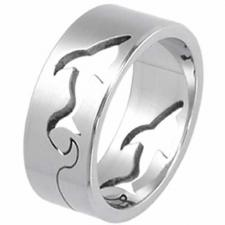 Stainless Steel Ring Shark With Cut Out Shark Curving