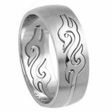 Stainless Steel Ring - Tribal Engraved