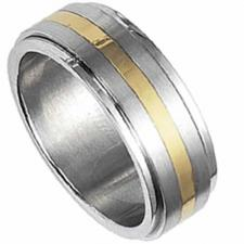 Stunning Stainless Steel Spinning Ring With Gold PVD Stripe