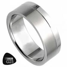 Titanium Ring With Matte Finish and a Shiny Stripe at the Bottom - 8mm Width