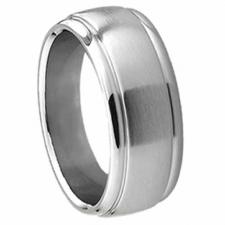 Titanium Ring With Cut Out Edge Design - 7mm Width