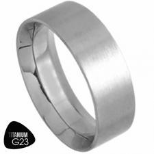 Titanium Ring With Sraight Edge and Inside Comfort Fit - 7mm Width
