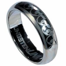 Tungsten Carbide ring with laser-made vine design