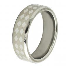 Tungsten Carbide Ring with Laser-made diamoned-Shape Design