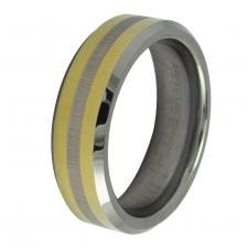 Tungsten Carbide  Ring with Gold Stripes