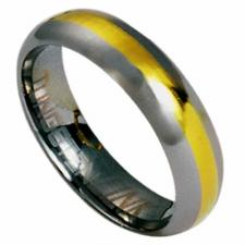 Tungsten Carbide Ring with Gold Stripe