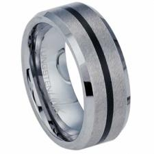 Beautiful Brushed Tungsten Carbide Ring With Black PVD Stripe