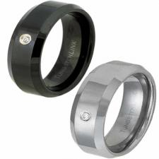 Tungsten Ring with Cubic Zirconia - Black, Tungsten, or Coffee