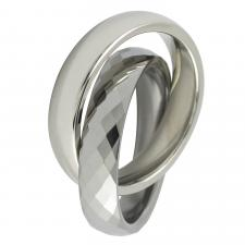 Double Tungsten Carbide Ring With Diamond Shaped Design On One Ring