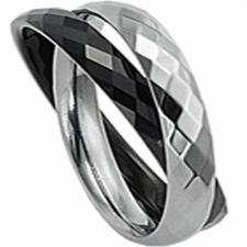 Two Piece Tungsten Ring With Black PVD