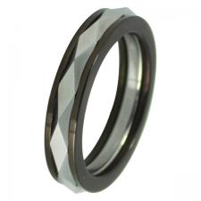 Tungsten And Steel Ring With Black PVD