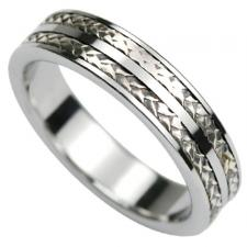 Tungsten Ring with 925 Silver Braid Design.