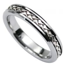Tungsten Ring with Silver Center Design