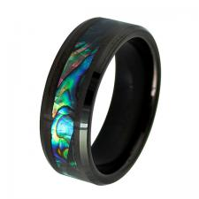 Tungsten Black PVD Ring with Holographic Design