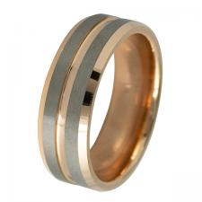 Tungsten With Rose Gold PVD Ring