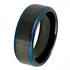 Men's Tungsten Black PVD Ring with Blue Ring