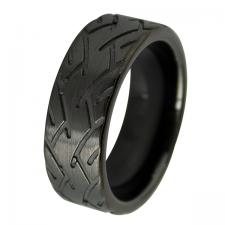 Men's Black PVD Tungsten Biker Design Ring