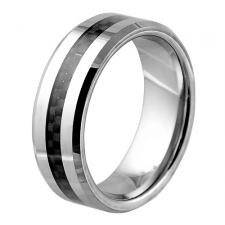 Contemporary Tungsten Ring With Carbon Fiber Inlay