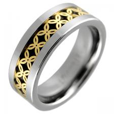 Tungsten Ring with Gold Colored Center Design