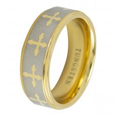 Gold and Satin Finish Tungsten Ring With Center Cross Design