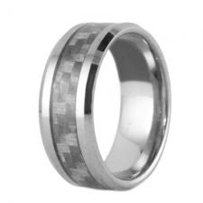 Contemporary Tungsten Ring With Grey Carbon Fiber Inlay