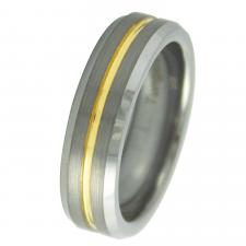 Tungsten Ring With Shiny Gold PVD Center