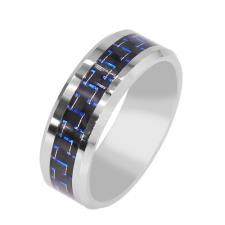 Contemporary Tungsten Ring With Dark Blue Carbon Fiber Inlay