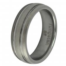 Brushed Tungsten Ring with Shiny Grooves