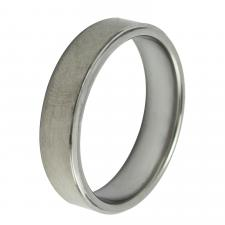 Flat Brush Finished Tungsten Ring with Shiny Edges