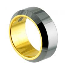 Beveled Edge Tungsten Carbide Ring with Interior Gold PVD Coating
