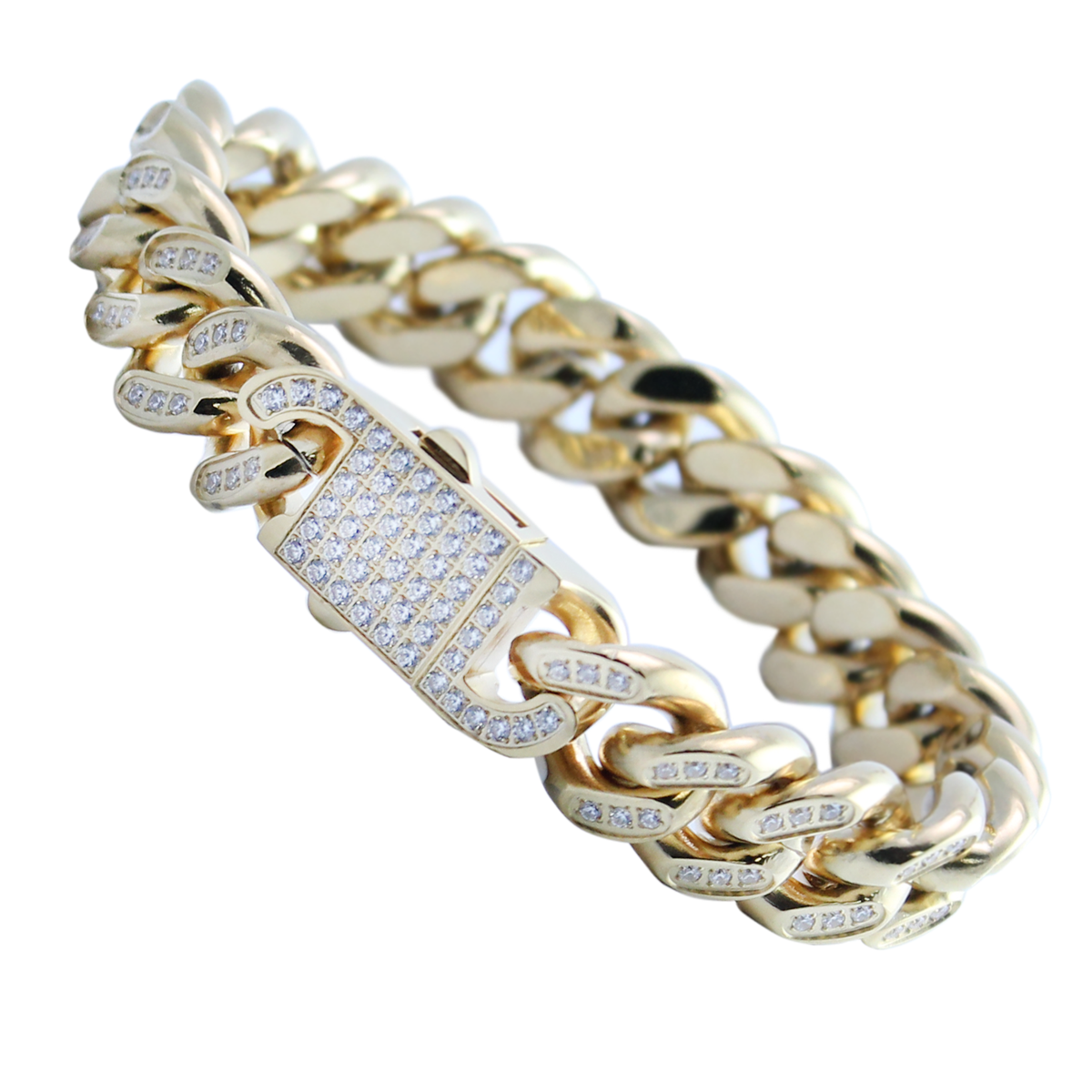 Gold PVD Stainless Steel Cuban Link CZ Stone Encrusted Bracelet