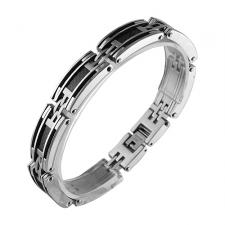 Stainless Steel Bracelet with Cable and Carbon Fiber (8 IN)