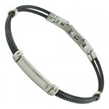 Stainless Steel Thin Black Cable Bracelet