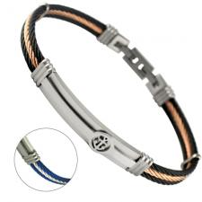 Stainless Steel Adjustable Cable Bracelet w/ ID Bar & Anchor Design