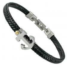 Stainless Steel Black Cable Bracelet W/ Anchor Accent
