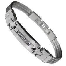 Stainless Steel Cable Bracelet With Design in Center