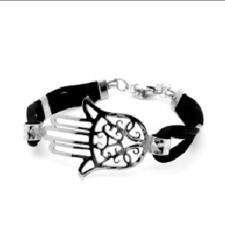 Stainless Steel Bracelet with Black Cord and HAMSA Design
