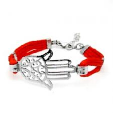 Stainless Steel Bracelet with Red Cord and HAMSA Design